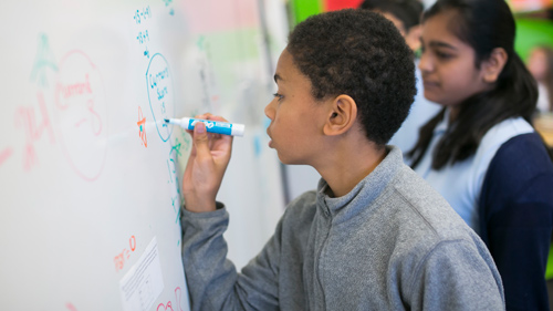 Boy writing on the board
