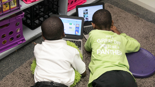 Students Working Together on Computers