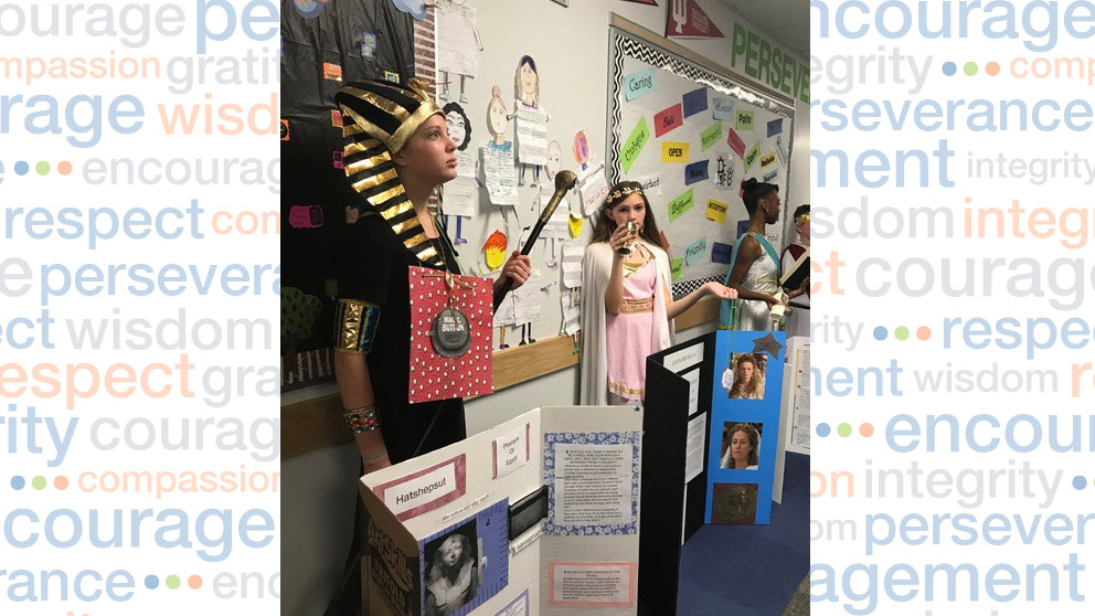 Students dressed as historical figures