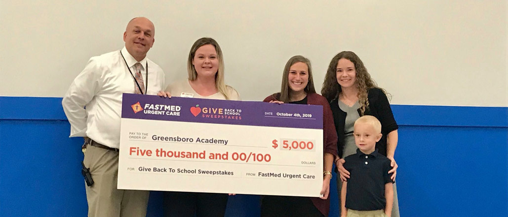 Greensboro Academy Receives $5,000 Donation from FastMed Urgent Care in Give Back to School Sweepstakes
