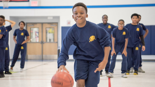 Students in basketball practice