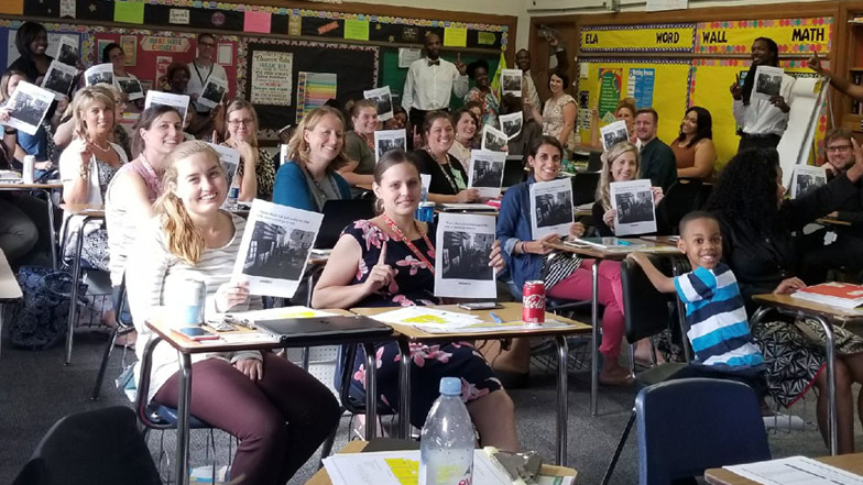 Students showing news article