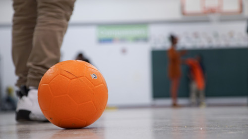 Volleyball in gym