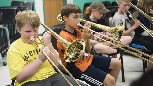 Students in band practice