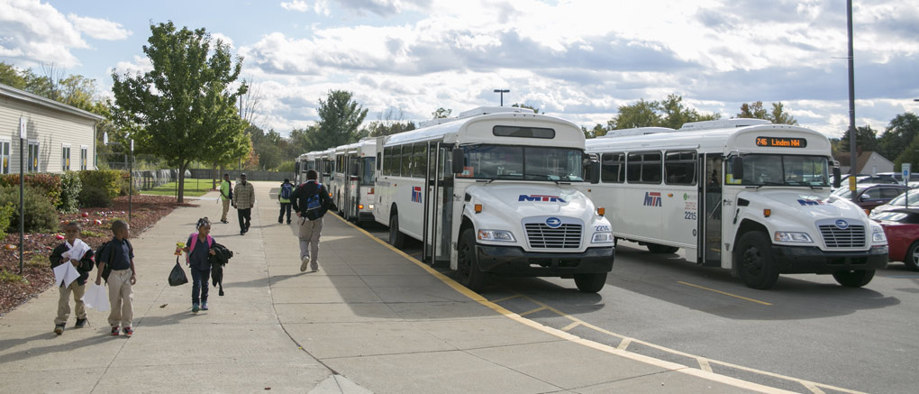 MTA buses and students