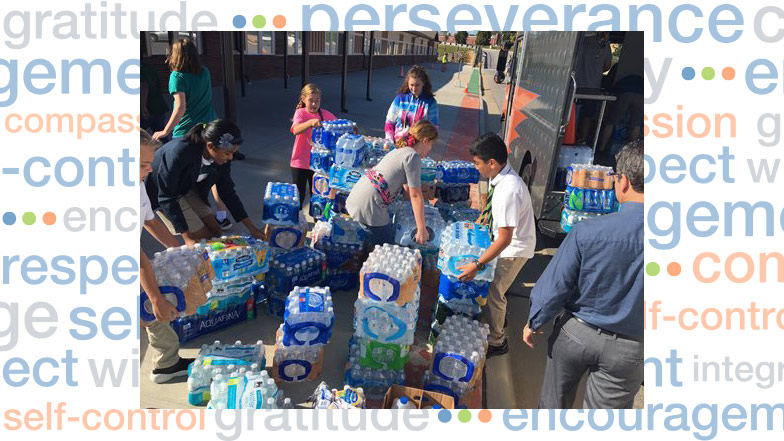 Students packing water