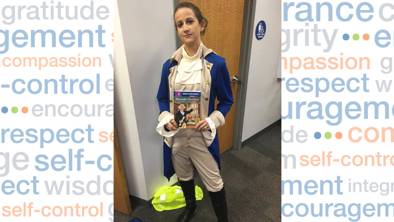 Student dressed as Hamilton