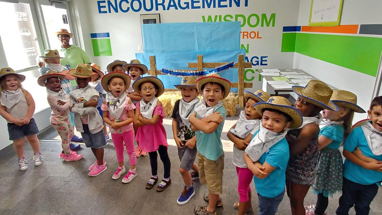 Kindergarten students dressed up