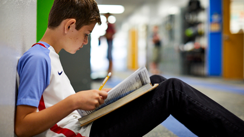Boy studies in hallway